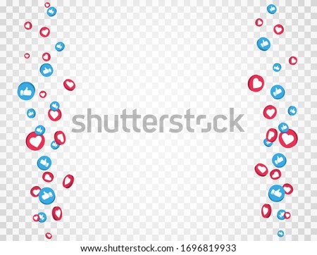 Like and thumbs up icons frame. Social media elements falling on transparent background. 3d social network symbol. Counter notification icons frame. Emoji reactions. Vector illustration.