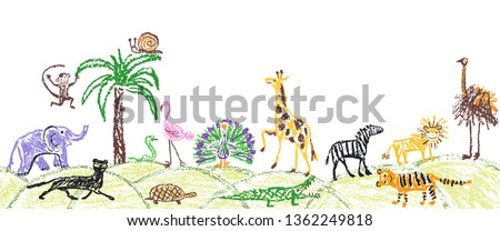 Like child hand drawn wild animals set. Kid`s crayon giraffe, elephant, lion, monkey, zebra, crocodile. Pastel chalk or pencil funny doodle style vector seamless border copy space safari background