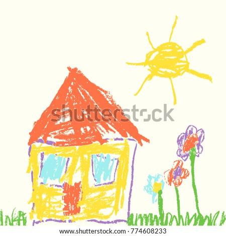 like child s hand drawn house