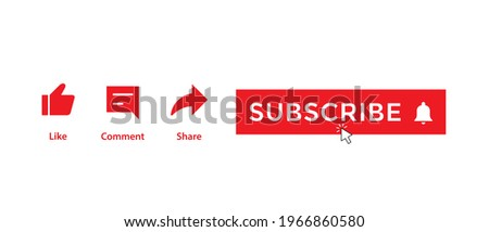 Like, Comment, Share, and Clicking Subscribe Button. Icon Set of Channel Subscriptions