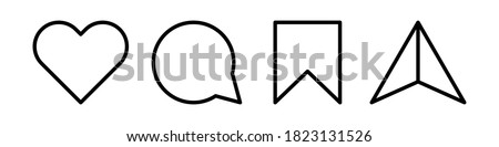 Like, comment, share and save. Modern vector icons isolated on white background. Foto stock ©