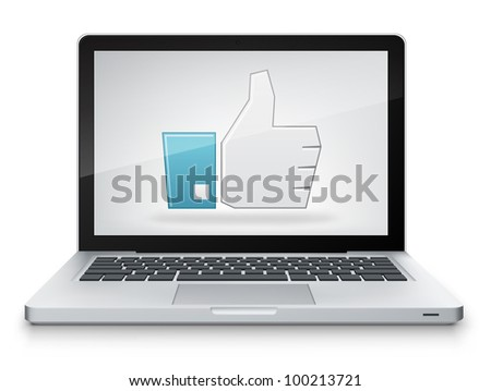 Like Concept. Laptop on Grey Gradient Background. Vector.