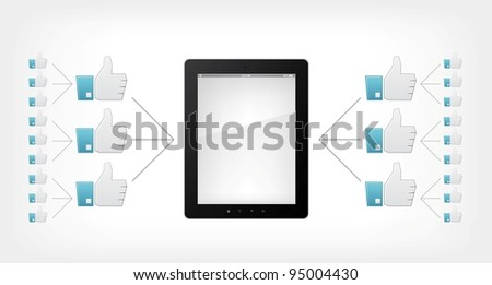 Like Concept. Tablet PC on Grey Gradient Background. Vector.