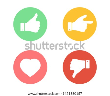 Like, dislike, heart and forefinger icons. Thumbs up and thumbs down button. Graphic elements for web banners, web sites. Simple buttons with user feedback for social network, web site design.