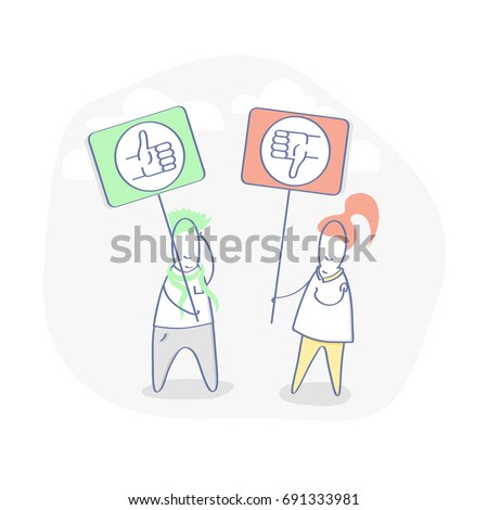 Like, Dislike, Thumbs up and Thumbs down. Flat line Social Media illustration. Two cute cartoon characters hold signs with like and dislike symbol. Vector concept.