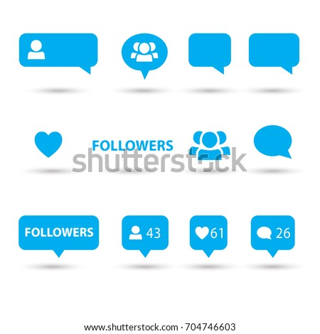 Like, follower, comment icons, speech bubbles, followers icon blue color, isolated on white background with shadow. Logo talk bubble. Vector button. Social media element flat design.