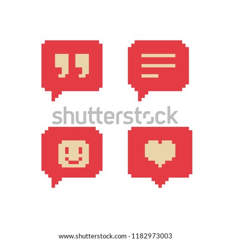 Like, follower icon. Pixel art. Comment, message and smile. Heart social media notification. Web site design. 8-bit. Isolated abstract pixel art vector illustrations.