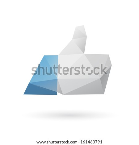 Like hand symbol abstract isolated on white background, vector illustration
