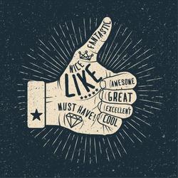 Like hand. Vintage styled vector illustration.