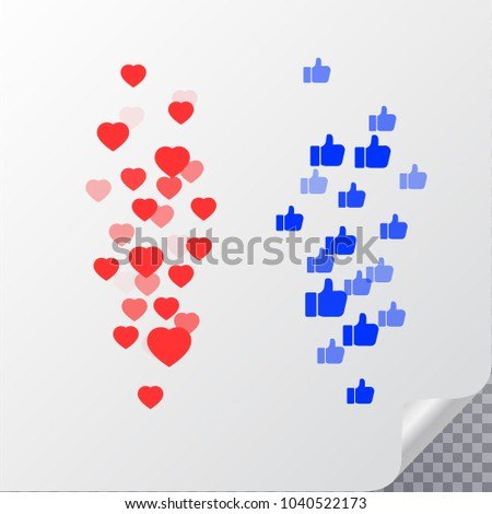 Like. Heart love. Thumbs up. Flying hearts. Red hearts of different sizes fly away. Like and Heart love icon in move. Vector illustration isolated on a white background