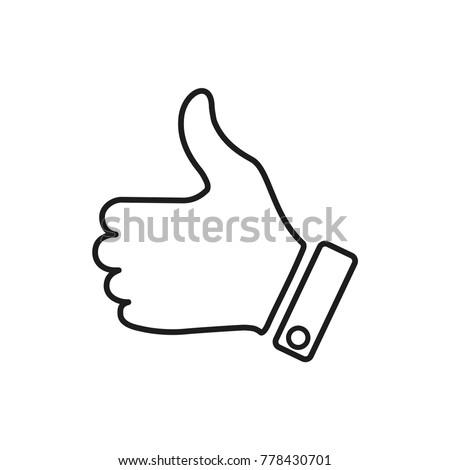 like icon, hand vector icon, good symbol, flat design best vector like illustration
