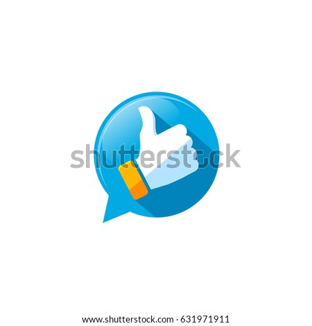 Like Icon on the Bubble Speech. Thumb Up Vector Illustration for Web Design.