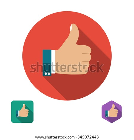 Like icon. Thumb up symbol. Set icons in flat style with long shadows. Three types of icons: circle, square, hexagon. Vector illustration