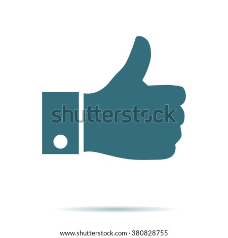 Like icon. Thumb up vector isolated. Modern simple flat thumb up sign. Business internet, social concept. Trendy network vector symbol for web site. Logo illustration.