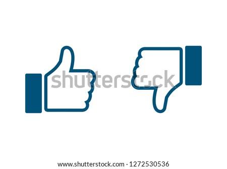 like icon. Thumbs up icon. social media icon. Like and dislike icon. Thumbs up and thumbs down.