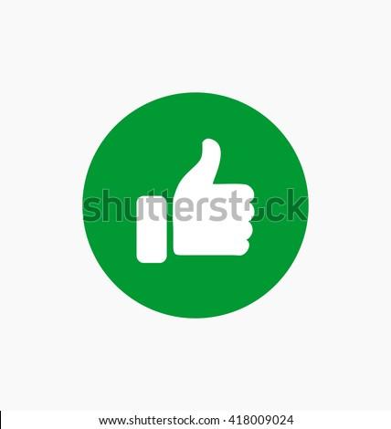 Like icon vector illustration. Thumb up symbol on green circle.