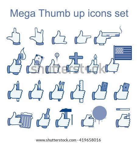 Like icons set. Thumb up icon set. Different hands holding stuff. Like icon with gun. Like icon with money. Face-book like. Like icon with phone. Like icon with beer. Vector illustration