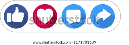 Like Love Comment Share social network Icon set and longshadow on white background. Stock photo ©