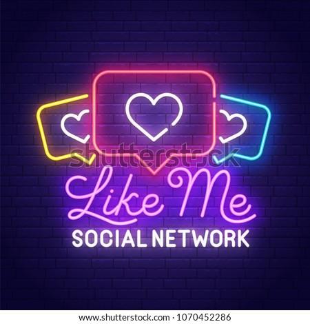 Like neon sign. Push notifications, bright signboard, light banner. Heart logo, emblem. Like icon. Vector illustration