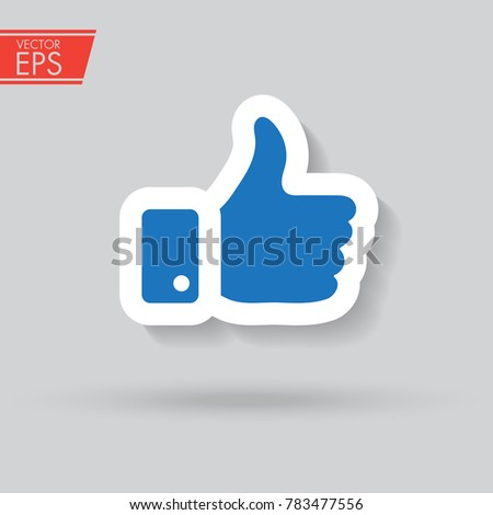 Like paper icon with shadow in trandy style isolated on grey background. Like symbol for your web site design, logo, app, UI. Vector illustration, EPS10. Finger up sign. I like it symbol.