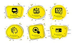 Like photo, Loyalty star and Bus travel icons simple set. Yellow speech bubbles with dotwork effect. Artificial intelligence, Weather forecast and Payment methods signs. Vector