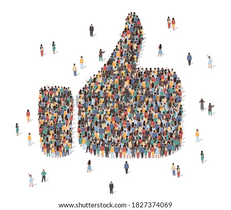 Like symbol made of many people, large crowd shape. Group of people stay in thumb up like sign formation. Social activity, collective action and public engagement. Vector isometric illustration.