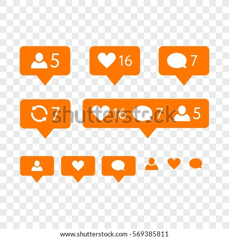 Like symbol, Message and notification set. instagram icons
