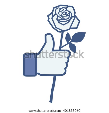 Like/Thumbs up/Hand hold rose icon. Social media logo network isolated vector sticker