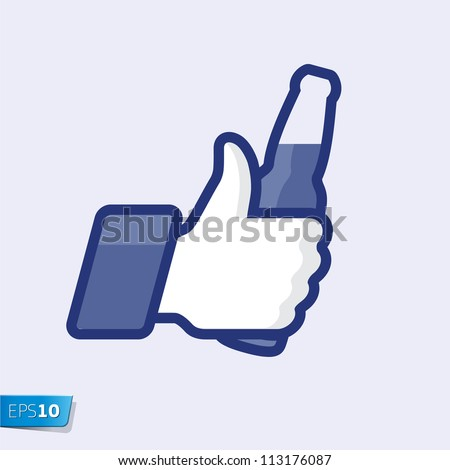 Like/Thumbs Up symbol icon with beer bottle, vector Eps 10 illustration.