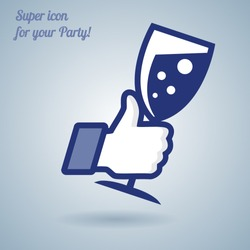 Like/Thumbs Up symbol icon with glass of wine, vector Eps 10 illustration. Icon for Party