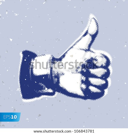 Like/Thumbs Up symbol on a grey background, vector Eps10 illustration.