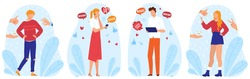 Likes, social media network club and support, set of vector illustrations. Internet share concept. Social media strategy, people with mobile phone application, attracting likes and positive reaction.