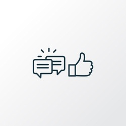 Likes with comment icon line symbol. Premium quality isolated feedback element in trendy style.