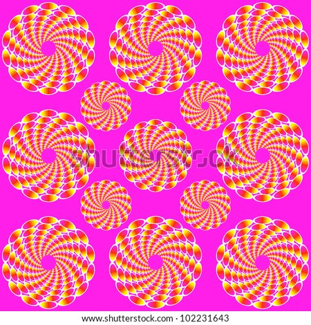 Lilac background with the optical illusion of movement executed from bright ovals