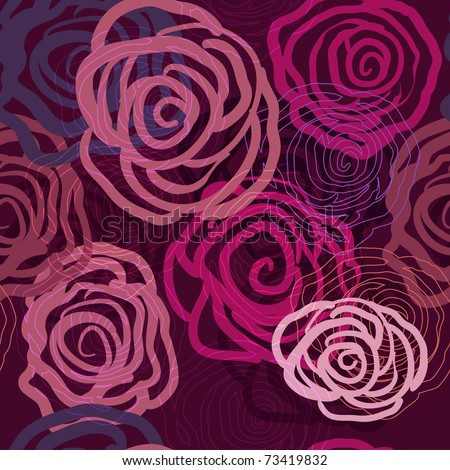 Lilac seamless vector texture with abstract roses