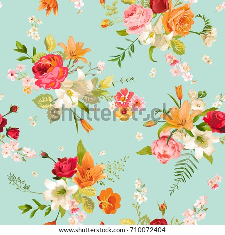 stock-vector-lily-and-orchid-flowers-seamless-background-floral-pattern-in-vector