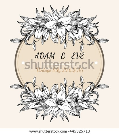 Lily flower card vector by hand drawing.