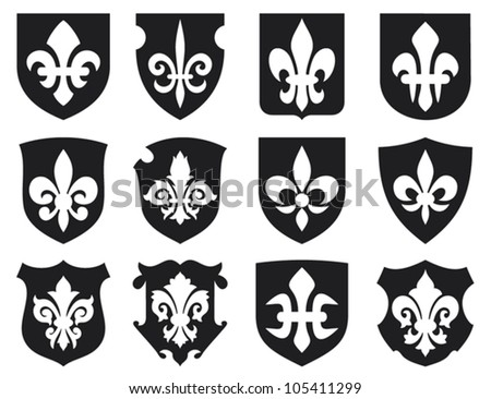 lily flower - heraldic symbol fleur de lis and medieval shields (royal french lily symbols for design and decorate, lily flowers collection, lily flowers set, shields set)
