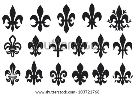lily flower - heraldic symbol fleur de lis (royal french lily symbols for design and decorate, lily flowers collection, lily flowers set) - stock vector