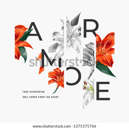 """lily flower illustration with slogan ,Amore is the Italian word for """"love"""""""