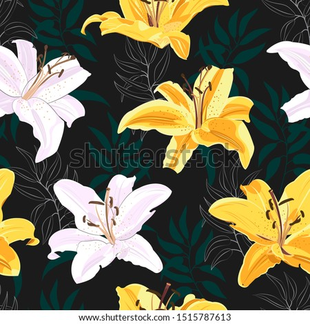 lily flower seamless pattern on
