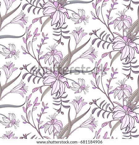 Stock Photo Lily flowers seamless pattern.