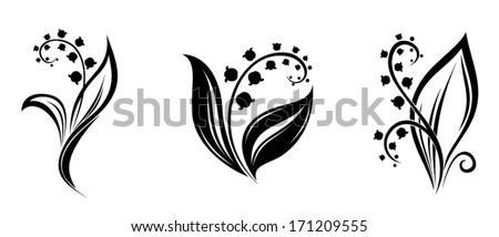 Lily of the valley flowers. Vector black silhouettes. - stock vector