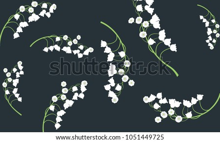 Lily of the Valley. Vector Illustration with Spring Flowers. Beautiful Template with Convallaria Flowers. May Lily in Hipster Style for Spring Design, Card, Greeting, Invitation, Wedding, Poster.