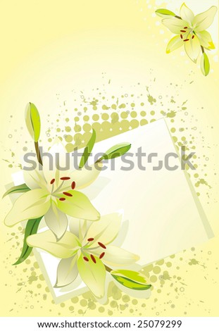 Lily, vector grunge floral background