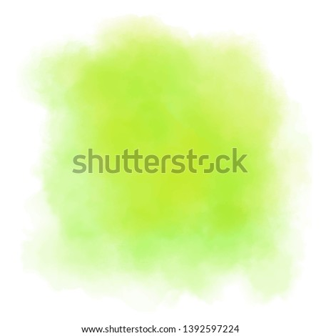 Lime background with juicy colors. Watercolor screen ideal as a texture for nature, tropical and fruity painting. Green-yellow water stain. Abstract vector paint splash, isolated on white backdrop.