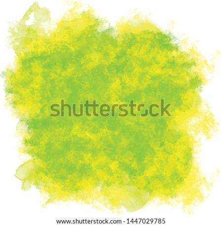 Lime background with juicy colors. Watercolor screen ideal as a texture for nature, tropical and fruity painting. Green-yellow water stain. Abstract vector paint, isolated on white background.