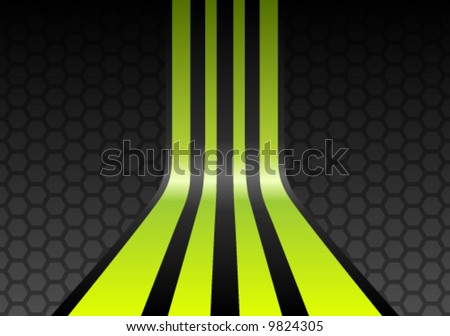 Lime green stripes on gray mesh honeycomb background
