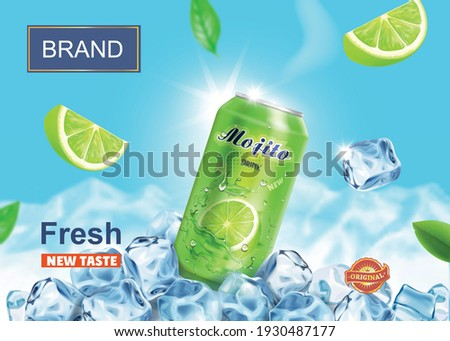 Lime juice drink advertising. Refreshing mojito ads aluminium can in ice cubes on snow mountains background. Vector mojito cocktail in ice cubes. Foto stock ©
