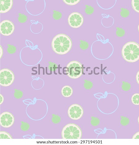limes and apples on lavender